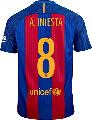 Nike A. Iniesta #8 FC Barcelona Home Soccer Jersey Youth (YS) Blue, Red