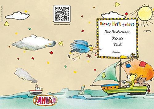 Lustige JANOSCH-Schulhefte A4, »Spannende Seefahrt«, verschiedene Farben & Lineaturen, personalisierbar (43 Beige, Lineatur 07)