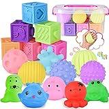 FORMIZON Bolas Sensoriales para Bebés y Bloques Apilables para Bebés Set, 18 Piezas Juguetes Bebe con Bloque, Bolas y Animal, Juguetes de Baño Regalo para los Niños