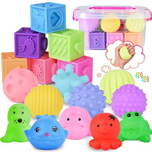 FORMIZON Set di Palle Morbide Sensoriali e Impilabile Cubi Bambini, 18 Pezzi Giochi Neonato con Palline Sensoriali, Blocchi Morbidi e Animale, Giocattoli da Masticare, Giocattoli Educativi