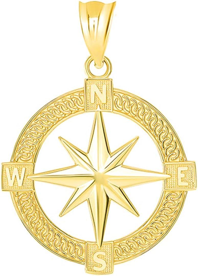 Nautical Jewelry 14k Gold Round North Star Compass Adventures Charm Pendant