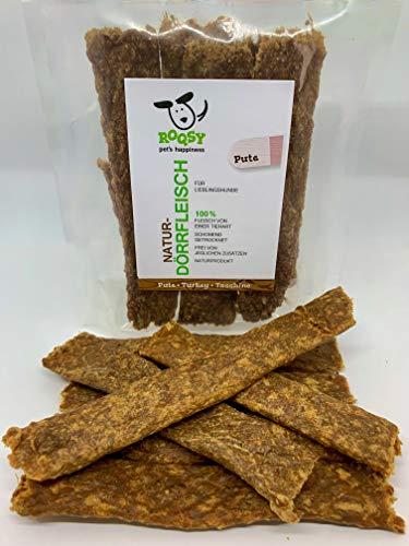 ROQSY Natur-Dörrfleisch 100% PUTE Jerky Kaufleisch Hundesnack Kaustreifen Leckerli Kaustangen schonend getrocknet 100g