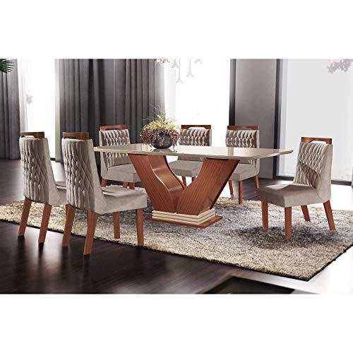 Conjunto Sala de Jantar Mesa com Tampo de Vidro Safira 6 Cadeiras Atena Lj Móveis Castanho Premio/off White/pena Bege