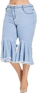 Howely Womens Plus Size Carpi Pants Frayed Raw Hem Lounge Ruffle Jeans