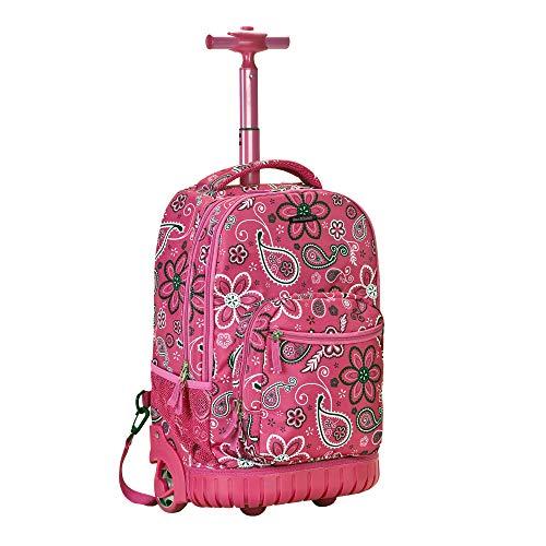 Rockland Single Handle Rolling Backpack, Bandana, 19-Inch