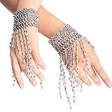 Sealike Belly Dance Tassel Wrist Ankle Arm Cuffs Bracelets Wristband Gypsy Jewelry with a Stylus (Silver)