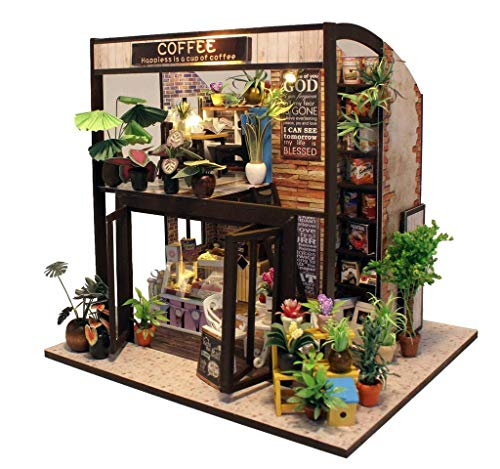 Rylai Architecture Model Building Kits with Furniture LED Music Box Miniature Wooden Dollhouse Time...