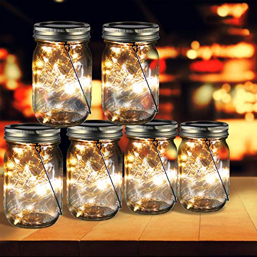 ZOUTOG Mason Jar Solar Lights, 30 LED Hanging Solar Lights Outdoor with Handle, Solar Lantern Lights for Patio/Garden/Yard and Lawn, 6 Pack - Jars & Hangers Included