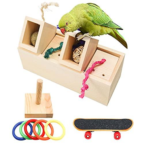 SH-RuiDu Juguete de entrenamiento para pájaros, juguetes de madera con cajón de inteligencia de forraje de pájaros, coloridos bucles de entrenamiento, juguete para patín y loro para loros