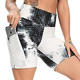 FITTOO Pantalones Cortos Deportivo Mallas Leggings Mujers Yoga Alta Cintura Elásticos Negro & Blanco S