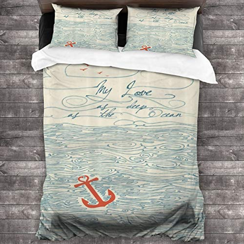 Duvet Cover Set 3 PCS,My Love As Deep As The Ocean Text With Sketchy Sea Clouds Birds And Anchor,Bedding Duvet Cover with 2 Pillowcases(Double 200x200cm)