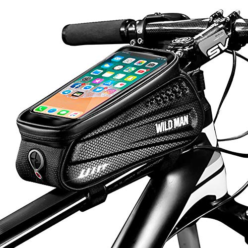 Cheftick Bike Phone Front Frame Bag, Waterproof Bicycle Phone Mount Bag Phone Case Holder Cycling Top Tube Frame Bag with Touchscreen Large Capacity Storage for Any Smart Phone Within 6.5 inch