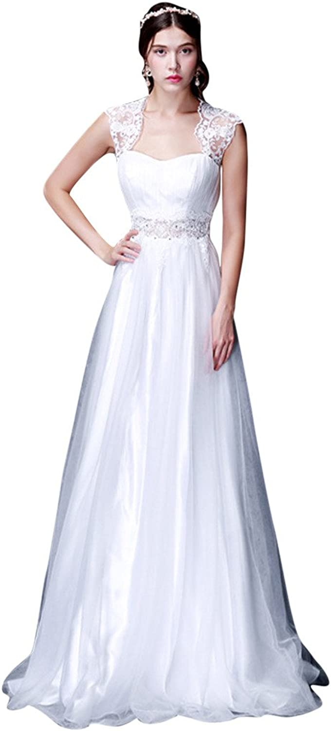 BessWedding Women's Long Sweetheart Lace Wedding Evening Party Gowns for Brides