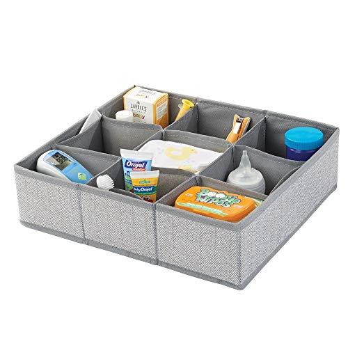 mDesign boîte de rangement en fibre synthétique pour chambre d'enfants, salle de bain, armoire, etc. – module de rangement fibre synthétique – boîte en tissu à 9 compartiments – gris à motif chevron