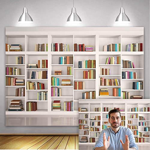 Fondo de biblioteca para biblioteca y biblioteca, telón de fondo de oficina para videoconferencias, accesorios de fotografía para niños (210 x 150 cm)