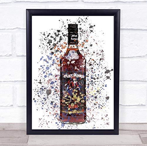 Donker originele Rum fles muur kunst ingelijst Print Small A5