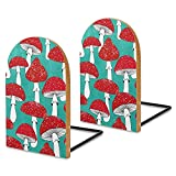 Sujetalibros de madera, 2 unidades, champiñones rojos en azul turquesa decorativos sujetalibros de madera para estantes resistentes para libros, archivos de oficina, revistas