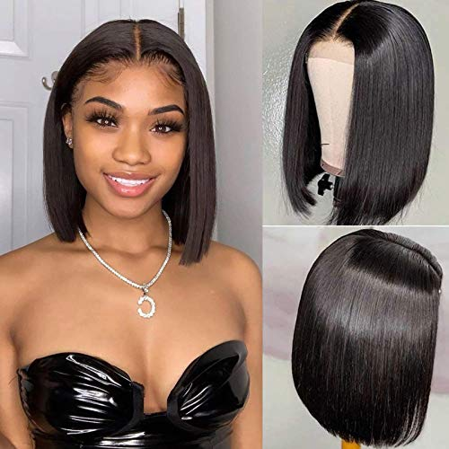 BLY 180% Density Short Bob Lace Front Wigs Straight Human Hair 4x4 Lace Closure Front Wigs For Black Women Brazilian Virgin Hair with Baby Hair Pre Plucked Natural Color(12 Inch)