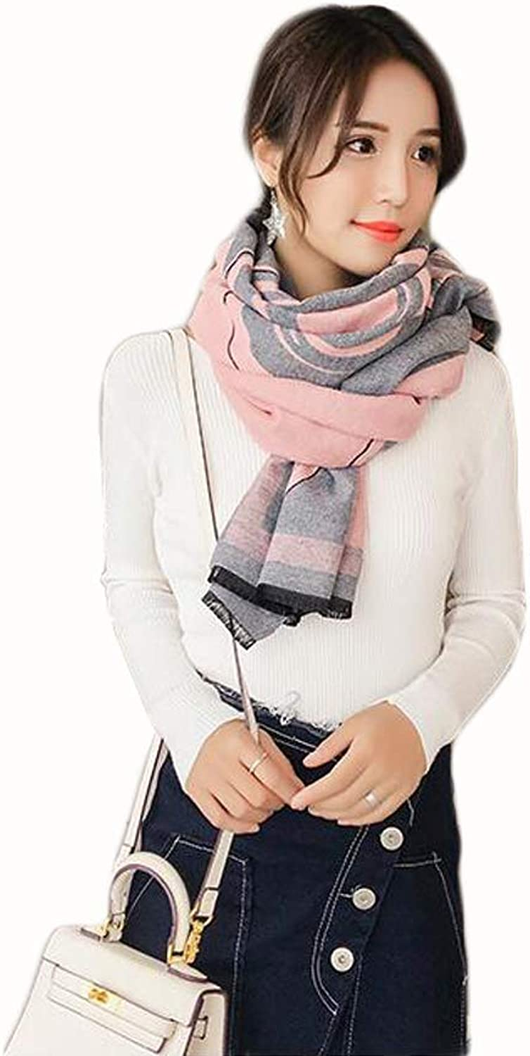 JUN Shawl Ladies Scarf Winter Thick Warm Print DoubleSided Twocolor Student Long Section