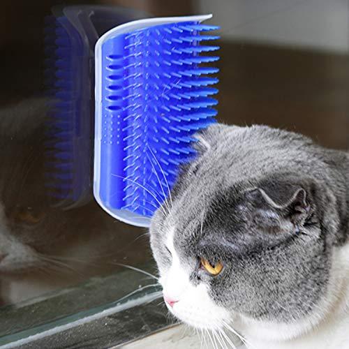 PTN Gato Esquina De La Pared Masaje Peine Cepillo, Gatos para Mascotas Eliminación de Pelo Masaje Gatito Esquina Peine Cepillo,Viene con Hierba Gatera