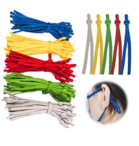 100 Pieces Elastic Bands for Sewing with Adjustable Buckle, Elastic String for Masks,Multi Color