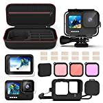 Kupton Accessories Kit Bundle Compatible with GoPro HERO9, Waterproof Housing + Glass Screen Protector + Silicone Case… 9 📷【60m/196ft Waterproof Housing Case】Kupton housing case has tight buckle and upgraded waterproof seal, providing ultimate protection for your GoPro during extreme outdoor activities and deep-water diving. 📷【Silicone Case Set】New Version Bundle compatible with GoPro HERO9 adds daily protection set for your camera, including silicone sleeve case, lanyard as well as silicone lens cap. Silicone protective case with light but strong materials fits your camera snugly. Lanyard well solves the problem of carrying for outdoor video activity. 📷【Tempered Glass Screen Protector】Tempered glass protector with a thickness of only 0.3mm brings crystal viewing experience, protecting screen and lens of your camera from dust, fingerprints, drops, scratches and bumps.
