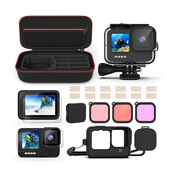 Kupton Accessories Kit Bundle Compatible with GoPro HERO9, Waterproof Housing + Glass Screen Protector + Silicone Case… 1 📷【60m/196ft Waterproof Housing Case】Kupton housing case has tight buckle and upgraded waterproof seal, providing ultimate protection for your GoPro during extreme outdoor activities and deep-water diving. 📷【Silicone Case Set】New Version Bundle compatible with GoPro HERO9 adds daily protection set for your camera, including silicone sleeve case, lanyard as well as silicone lens cap. Silicone protective case with light but strong materials fits your camera snugly. Lanyard well solves the problem of carrying for outdoor video activity. 📷【Tempered Glass Screen Protector】Tempered glass protector with a thickness of only 0.3mm brings crystal viewing experience, protecting screen and lens of your camera from dust, fingerprints, drops, scratches and bumps.