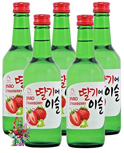 yoaxia ® Marke - 5er Pack - [ 5x 360ml ] HITEJINRO Soju Jinro Strawberry/Soju mit Erdbeergeschmack Alc. 13% vol. + ein kleines Glückspüppchen - Holzpüppchen
