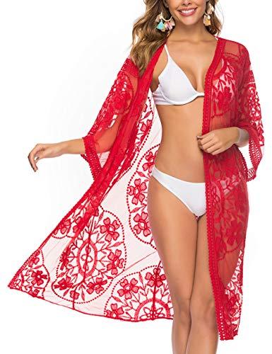 iWoo Damen Kleidung Sexyhohl Mode Festival Damen Outfit Lose Sonnencreme Einfarbig Strand Kimono-Rot