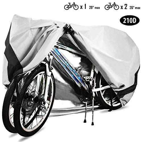 HCFGS Bike Cover, 210D Oxford Fabric Outdoor Waterproof Bicycle Cover UV Dust Sun Wind Proof Motorcycle Covers for Mountain Road Electric Bike Tricycle (Sliver)
