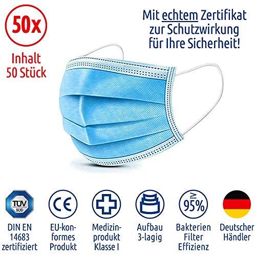 MEDIZINISCHE Mundschutz OP Atemschutzmaske Gesichtsmaske Typ I TÜV Zertifiziert und geprüft nach EN 14683, 50 Stück, 3-lagig, Versand aus Deutschland