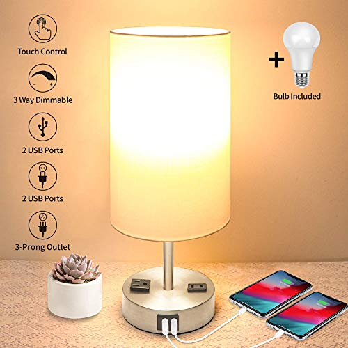 Touch Control Table Lamp, 3 Way Dimmable Bedside Lamp with 2 USB Fast Charging Ports 2 AC Outlets, Modern Touch Nightstand Lamp for Bedroom Living Room Guest Room Office, A LED Bulb Included, Silver