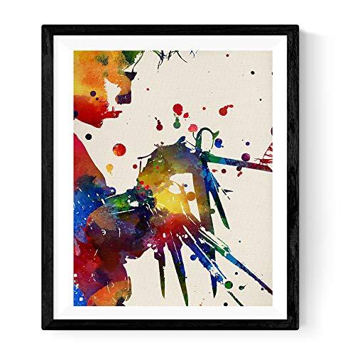 Nacnic stampa artistica in stile acquarello di Edward mani di forbici. Colori vivaci. ritatto del protagonista di un grande film del cinema mondiale. Stampato su Carta da 250 Grammi di Alta Qualità.