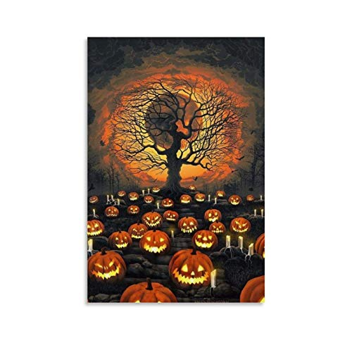 tongton Kürbis Kunst für Halloween, dekoratives Gemälde, Leinwand, Wandkunst, Wohnzimmer, Poster, Schlafzimmer, Malerei, 30 x 45 cm