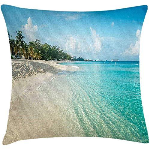 Mackinto Island Dekokissen Kissenbezug, White Coral Sand Seven Mile Beach auf Grand Cayman Island Kunstdruck