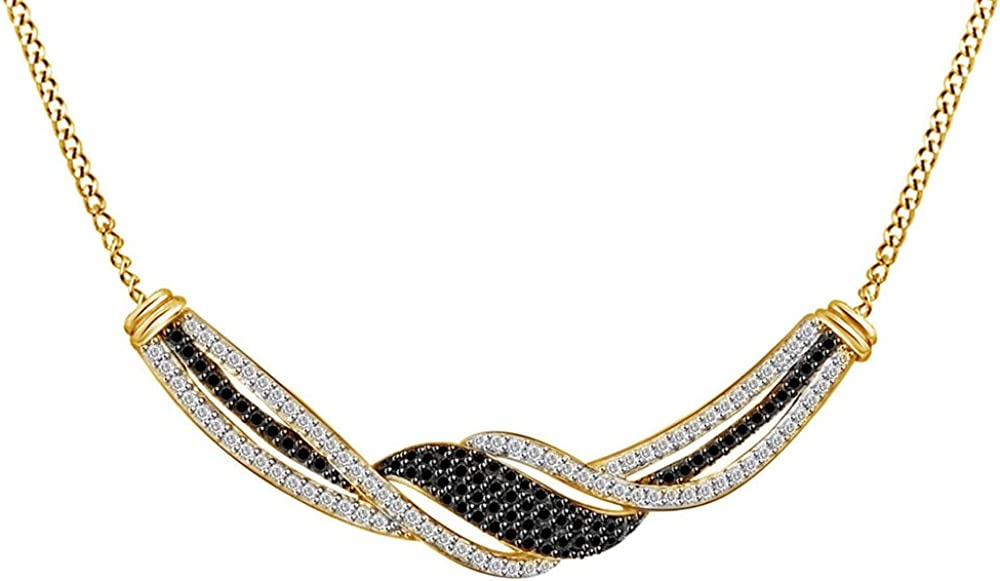 1//4 Cttw Jewel Zone US Black /& White Cubic Zirconia Twist Frontal Pendant in 14k Gold Over Sterling Silver