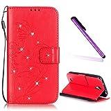 EMAXELERS - Funda para Samsung Galaxy S4Mini, con purpurina, con tapa, diseño con mariposas, tipo libro, con tarjetero, piel sintética, suave, cierre de imán, silicona interior
