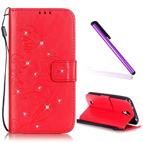 EMAXELERS Samsung Galaxy S4 Mini Hülle Prägung Blumen Schmetterling PU Leder Schutzhülle Ledertasche Lederhülle Handyhülle mit Standfunktion Kunstleder für I9190,Black Butterfly