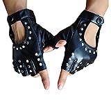 EOPER Guantes de piel sintética para mujer, estilo punk rock, sin dedos, para fiesta de cosplay, color negro