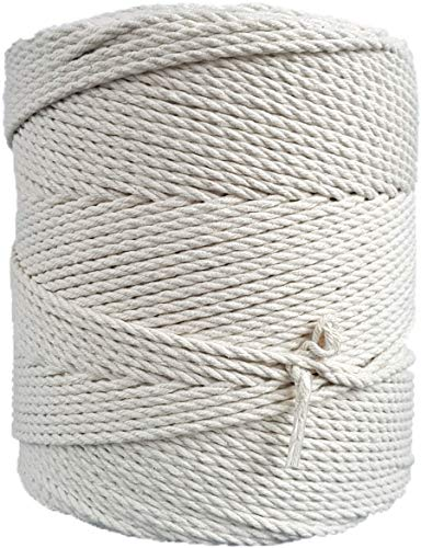MB Cordas Makramee-Seil 3mm 400 m - Natürliche Baumwollkordel - 3PLY Starke Baumwollschnur - Makramee Traumfänger, Wandbehang, Stricken, Häkeln – Natur (Ecru, Elfenbeinweiß)