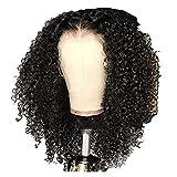 Pelucas de encaje frontal para mujer, de buena calidad, color negro, tamaño mediano, tamaño pequeño, esponjoso, para todas las reuniones diarias de mujer (tamaño: pequeña) (tamaño: mediano)
