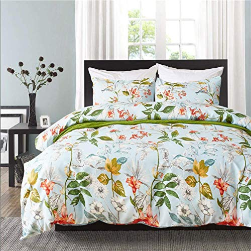 788 Duvet cover Flowers Tropical Leaves Geometric Line Print White Blue Gray Green Bedding set Quilt Cover and Pillowcase (Flower 2,135x200 cm)