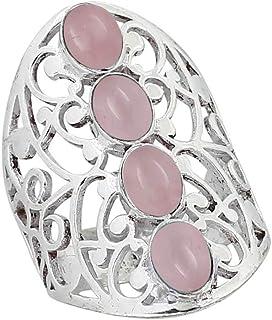 خواتم مخرمة من الكوارتز الوردي الأصلي 925 مطلية بالفضة متعددة الأحجار للنساء والفتيات