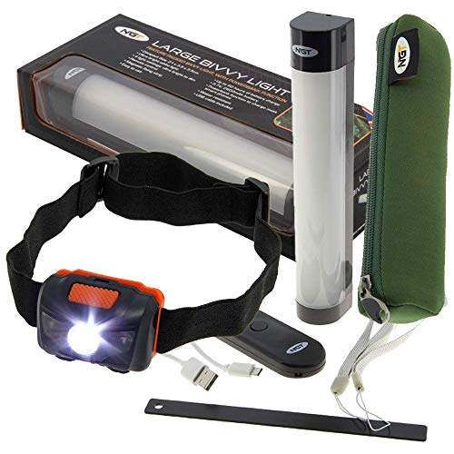 DNA NGT Fishing Camping Rechargeable Bivvy Tent Light Power Bank Remote with Neoprene Case and FREE LED Headlight (Now with Additional RED LED)
