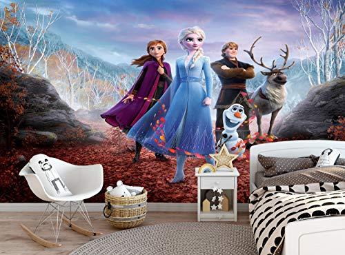 Fototapete Frozen 2 Disney Kinder Schlafzimmer Mädchenzimmer Elsa Anna Hirsch Wandbild B 366cm x H 254cm Wanddeko Riesen Papier Poster