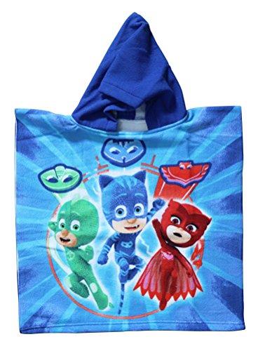 PJMask - Poncho-toalla infantil microfibra con capucha, 50x100 cm toalla, 50x50 cm poncho