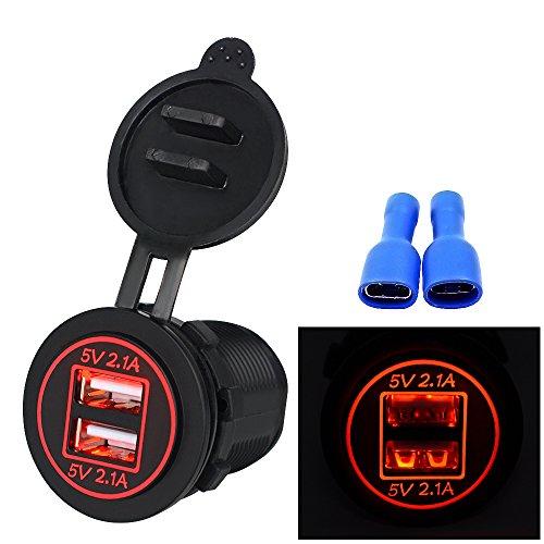 Samoleus Cargador de Coche, Doble Puerto USB Adaptador Cargador USB Móvil para Teléfonos Móviles, Tabletas, iPad, Navegación y GPS, Motocicletas, Barcos