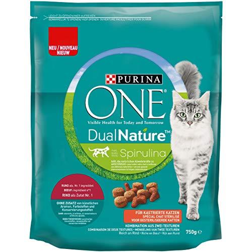 ONE DUAL NATURE für kastrierte Katzen Rind mit Spirulina KatzentrockenfutterBeutel, 750 g