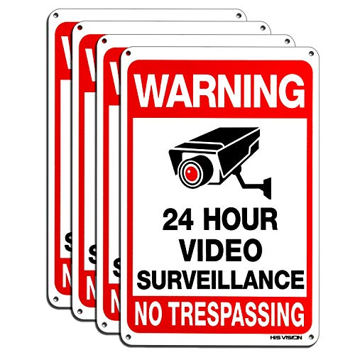 """Video Surveillance Sign 4-Pack , HISVISION No Trespassing Metal Reflective Warning Sign ,UV Protected & Waterproof, 10""""x 7"""" 0.40 Aluminum Indoor Or Outdoor Use for Home Business CCTV Security Camera"""