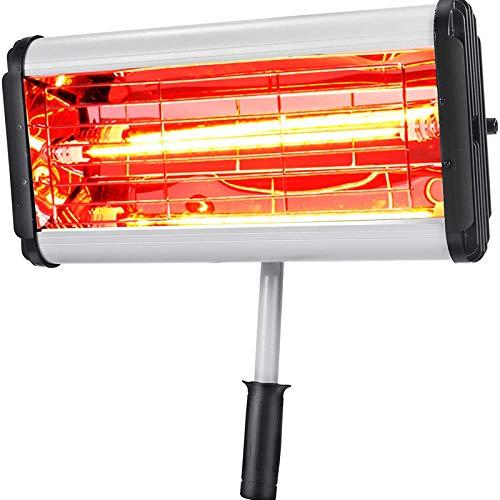 Huachaoxiang Calentador De Infrarrojos Eléctrico, Soporte Calefactor Infrarrojo Dispositivo Mano Control Remoto Unidad Radiador Calor Emisor Independiente,Plata